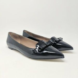 Elorie Black Patent Leather Pointed Toe Flats
